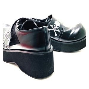 Demonia Black with Skull Shoes Size 9